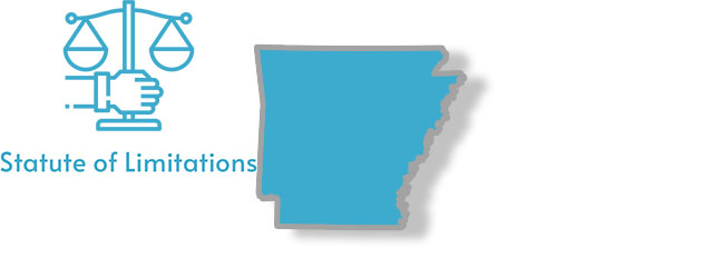 A stylized picture of Arkansas with the writing Statute of Limitations on it