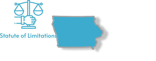 A stylized image of the state of Iowa with the words statute of limitations overlaid on top of it