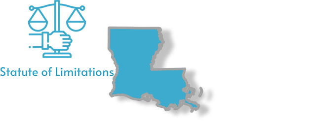 A stylized image of Louisiana with the words Statute of Limitations written on it