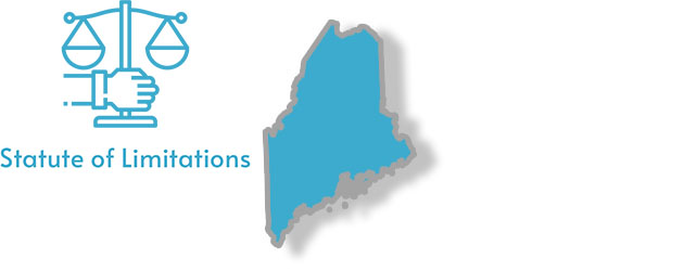 A stylized image of the state of Maine with the words Statute of Limitations written on it