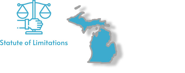 A stylized image of Michigan with the words Statute of Limitations written
