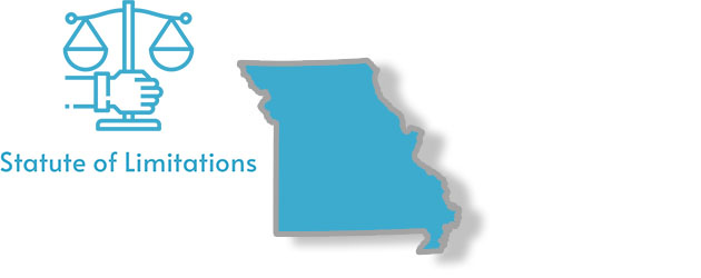A stylized image of the state of Missouri with the words statute of limitations written on it