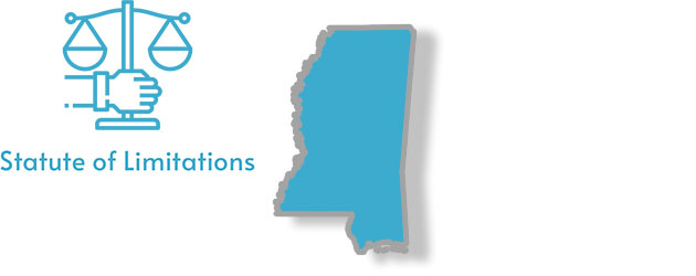 A stylized image of Mississippi with the words statute of limitations written on it