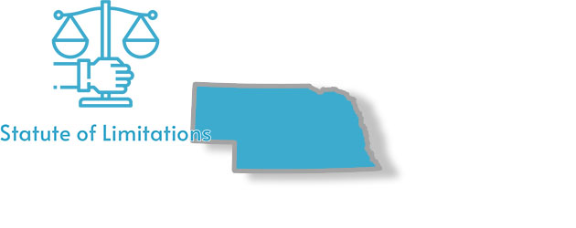 A stylized image of Nebraska with the words statute of limitations written over top of it