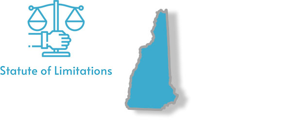 A stylized image of New Hampshire with the words Statute of Limitations overlaid