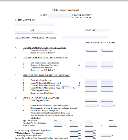 A Child Support Worksheet for the state of Kansas