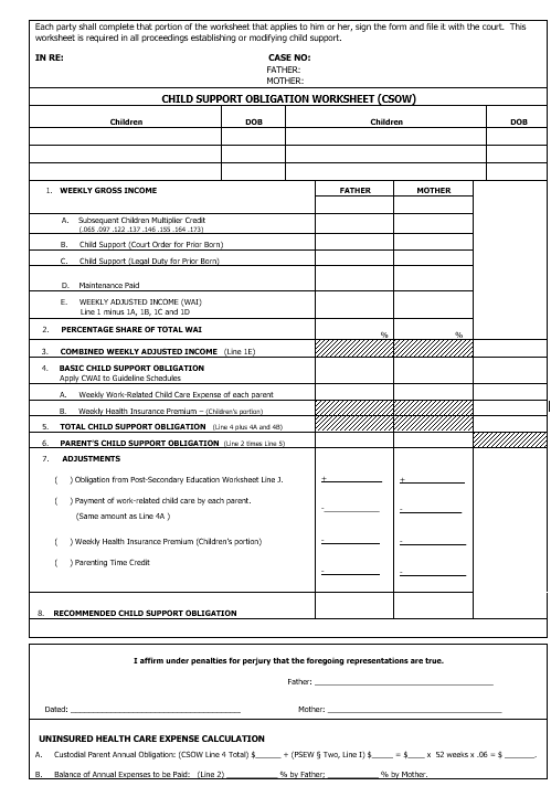 A worksheet for calculating child support in Indiana