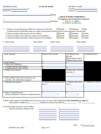 Maine Child Support Worksheet
