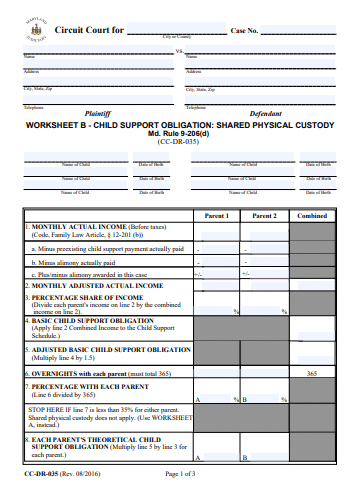 Maryland Child Support Worksheet 1   Recording Law
